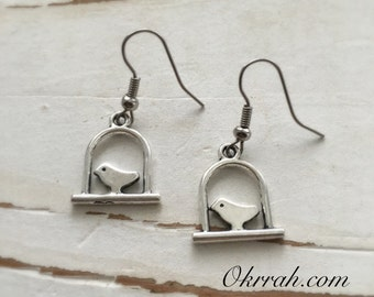 Okrrah sweet Little Bird on a Swing Earrings