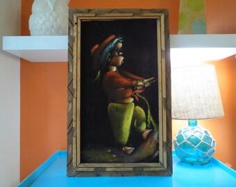 Vintage 1970s Retro Native Mexico Wood Frame Newsboy Boy Velvet Wall Art Painting