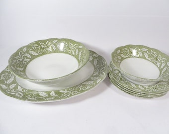 Vintage English Staffordshire Meakin Sterling Renaissance Serving Pieces - Platter Serving Bowl Cereal Bowl Dessert Plates