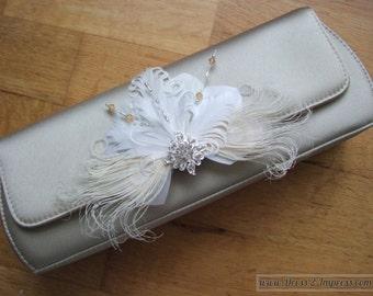"White Cream Gold Silver Bridal Curled Nagoire Feathers + Crystals ""Lena"" Bag Corsage Bridal Accessory Fairytale Fantasy Bride Wedding Ideas"