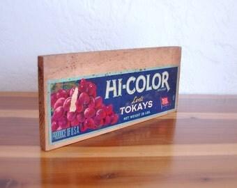 Vintage Fruit Crate Hi-Color Lodi Takays Grapes - Vintage Grape Sign - Wooden