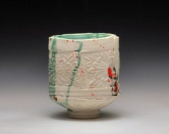 "Handbuilt Porcelain Teabowl ""Wallpaper Paste"""