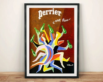 CLASSIC PERRIER POSTER: Vintage French Advert Reproduction by Villemot, Water Art Print Wall Hanging