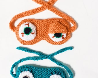Monster sleep eye masks Children hand knitted, two included in turquoise and orange