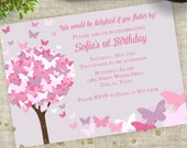 Pink and Purple Butterfly Birthday Party Invitation Personalized Custom Digital Printable File with Professional Printing Option