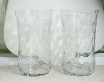 Vtg etched water glasses