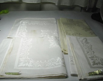 3 Vintage Japanese Damask napkins never used and another ivory damask one