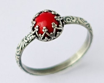Sardinia Red Coral Ring, Sterling Silver Pattern Band with Man Made Sardinia Red Coral, Antique Style Ring, Vintage Style Ring, Silver Ring