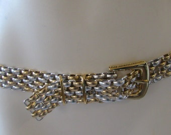 Vintage Gold & Silver Belt Adjustable Woven Metal High Fashion