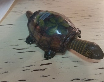 Early Tin Metal Florida Souvenir TURTLE NODDER Vibrant Colors md Japan Toy