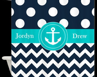 Navy Blue Dots Chevron Anchor Personalized Fabric Shower Curtain - YOU CHOOSE COLORS