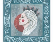 Christmas Card - SNOW QUEEN - festive alternative painted illustrated greeting card