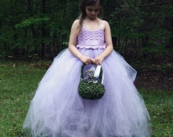 Lavender Lace and Tulle Flower Girl Dress