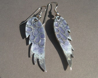 Silver enamelled angel wings earrings