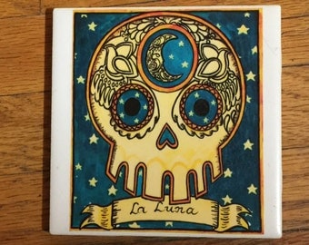 La Luna (The Moon) Ceramic Tile Coaster -  Loteria and Day of the Dead skull Dia de los Muertos calavera designs