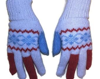 Women knitted gloves - glove, knit gloves, mitten gloves, gloves from knit yarn, fingered gloves, winter gloves, warm gloves, white gloves
