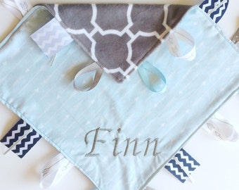 Little Arrows - Baby Boy tag lovey sensory blue blanket toy with gray minky