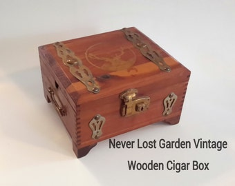 Cigar Box Hand Carved Wood Vintage