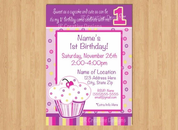 first birthday Cupcake invitation Cupcake Invite Birthday