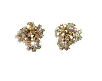 Vintage Earrings Exquisite Signed KRAMER Exceptionally BRILLIANT Aurora Borealis Rhinestone Earrings Stunning Sparkling Earrings