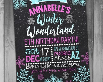 Winter Wonderland Birthday Invitation Snowflake Birthday Printable Birthday Christmas Birthday Girl Birthday Winter Birthday Party