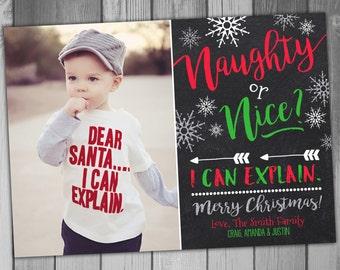 Naughty or Nice Christmas Photo Cards Holiday Card Christmas Cards Christmas Photo Cards Printable Christmas Holiday Photo Cards