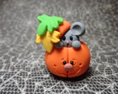 Polymer Clay Mouse,Kitty, or Ghost Peeking Out of a Pumpkin,Gift,Home Decor,Keepsake,Halloween Figurine,Miniature (Listing for One)