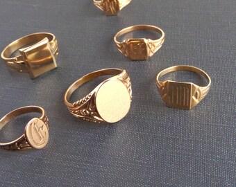Antique Mens Signet Ring. 10k Rose Gold. Fancy Oval. Large Size 11.