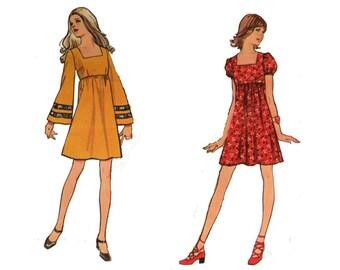 Mini Dress, Pattern, Simplicity 9878, Size 10 Dress, Seventies Pattern Empire Waist Dress, Bell Sleeves, Hippie Dress, Mini Skirt