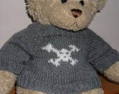 Teddy Bear Sweater - Hand knitted -  Grey with Skull and Crossbones