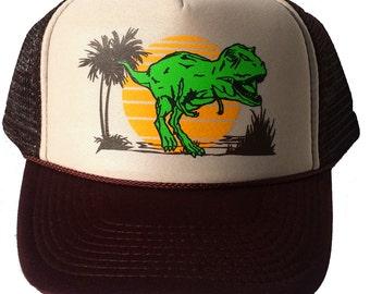 Adult Dinosaur Dino  T Rex  Mesh Trucker Hat Cap Snapback
