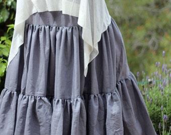 Plus size Maxi skirt - Gypsy tiered skirt - Boho Bohemian skirt -  Summer skirt - Full Large Skirt - Gray skirt - Long skirt - Size S/M L/XL