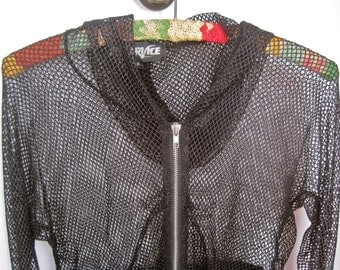 Lip Service Black Mesh Hoodie Touch of SPARKLE Fishnet Vintage 90s Goth Punk Gothic Thumb Holes Zipper Front Stretchy Size SMALL