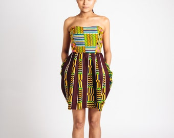 Mixed African Print Mini Dress Brown Green Mustard Teal