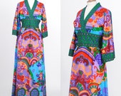 Vintage 1960s Hong Kong British Crown Colony Maxi Dress / Kimono Style / Empire Waist / Size Medium