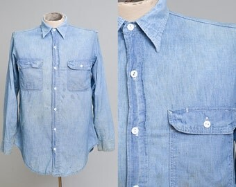 60s Chambray Distressed Cotton Denim Button Down Workwear Work Shirt