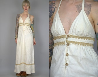 70s Halter Dress Ivory Cotton with Twine and Wood Button Closure Empire Waist Open Back Hippie Prairie Festival Dress