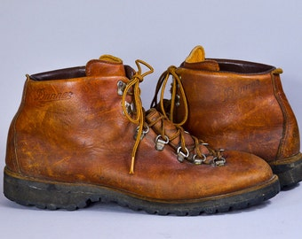 70s Danner Hiking Boots Leather Lace Up Mountaineer Outdoor Work Boots Mens 12 EE