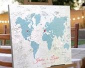 Signable Canvas World Map -  Custom Map Gift -  Wedding Guest Book Alternative - Custom Wedding Gift Designed - Sizes 16x20 up to 36x48