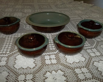 4 Antique Bean Pots & Serving Bowl...Brown Stoneware...Lids...Perfect...Primitive