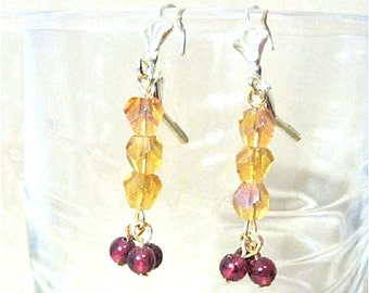 Crystal Lever Back Earrings, Amber Crystal & Garnet Bead Dangle Earrings, Semi Precious Jewelry Amber Beaded Burgundy Stone Dangle Earrings