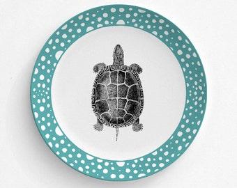 """Turtle Reptile Plate, Melamine Plate, Vintage turtle Illustration, decorative plate, Dinner Plate, 10"""" plate, turtle design"""