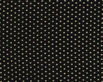 Spot on Jet (black with gold dots) - Robert Kaufman quilting weight fabric by the yard