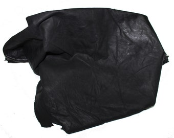 Italian Lambskin leather hide hides skin skins WASHED ANTIQUED BLACK 7sqf  #A423