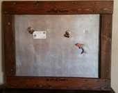 Industrial Rustic Reclaimed Wood and Galvanized Steel Sheet Magnetic Reminder Board or Picture Board with Clips