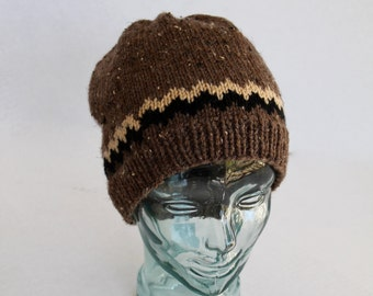 Knit Hat - Adult Hat - His or Her - Brown Tweed with Black and Buff Accents-Christmas in July SALE - 20 % off until July 31st