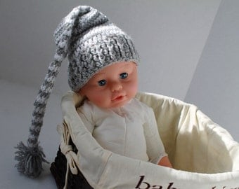 Crochet Elf Hat, Baby Hat - Light Grey and Sparkly White