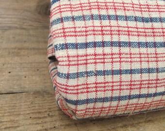 Antique Homespun French European Linen Kelsch Alsace Plaid Gingham Check Fabric Duvet Cover