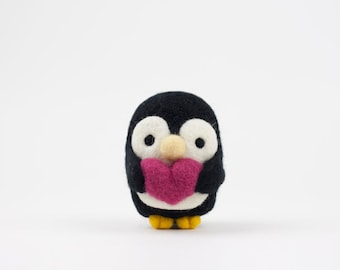Needle Felted Penguin, Needle Felted Animal, Plush, Felt Animal, Penguin, Valentine's, Wool - Patrick