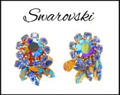 SWAROVSKI Blue AB Rhinestone Earrings, Aurora Borealis, Blue Flower Cuffs, Pageant Jewelry, Gift for Her